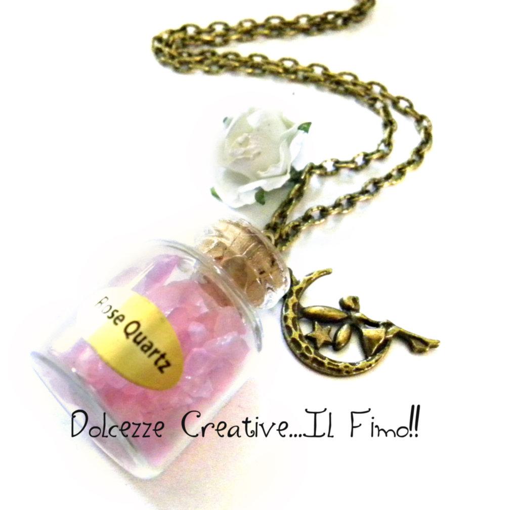 Collana Magica - Ampolla Con lacrime di Fata - Quarzo rosa, con rosa e charm fata su luna