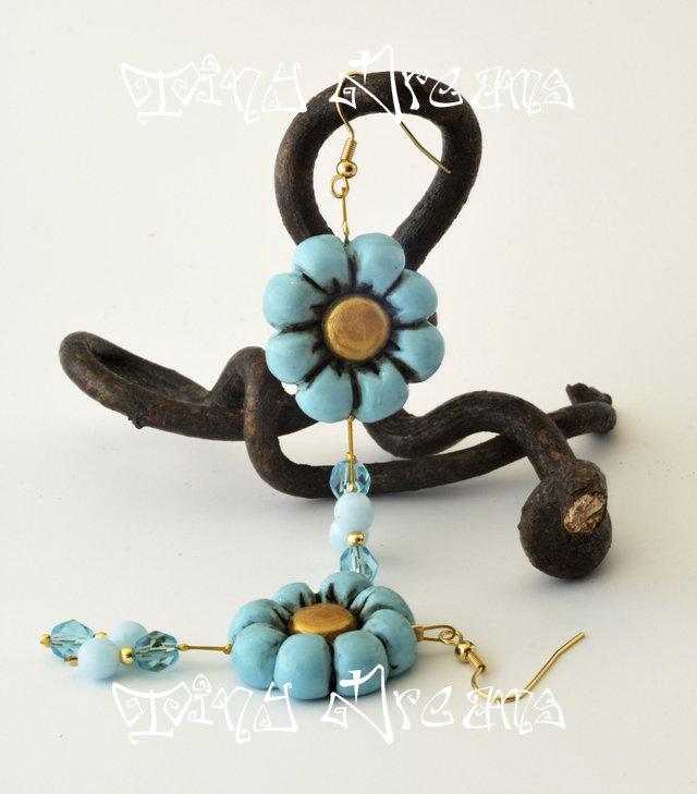 Orecchini Flower - T06 - Azzurro/Oro