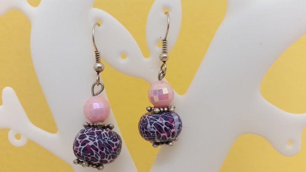 Orecchini perle fimo fucsia