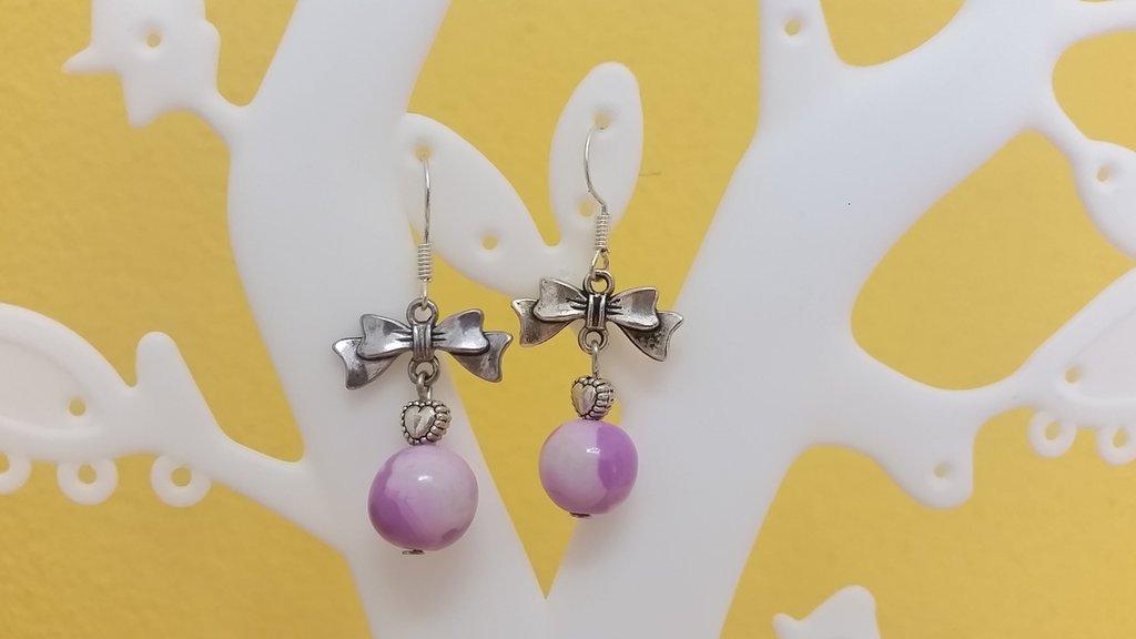 Orecchini perla fimo e fiocco