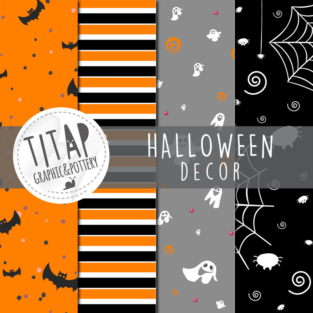 File digitali stampabili: set di 4 carte grafiche originali tema HALLOWEEN