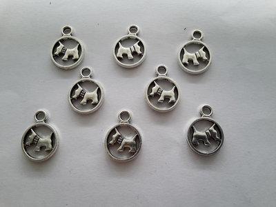 8 charms ciondoli 'Cagnolini' argento tibetano