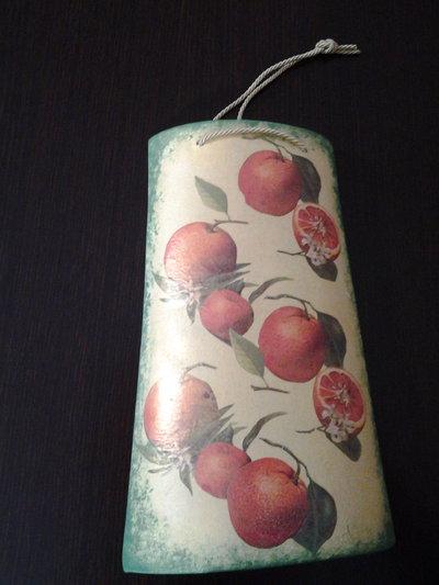 *Tegola in ceramica per cucina, decorazione arance*