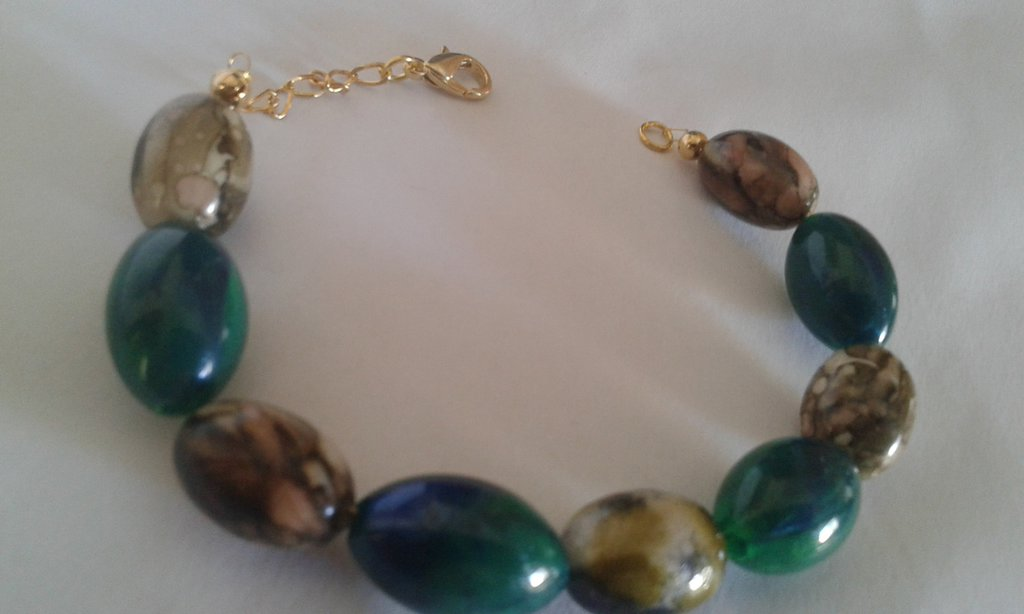 Bracciale donna perle allungate verdi