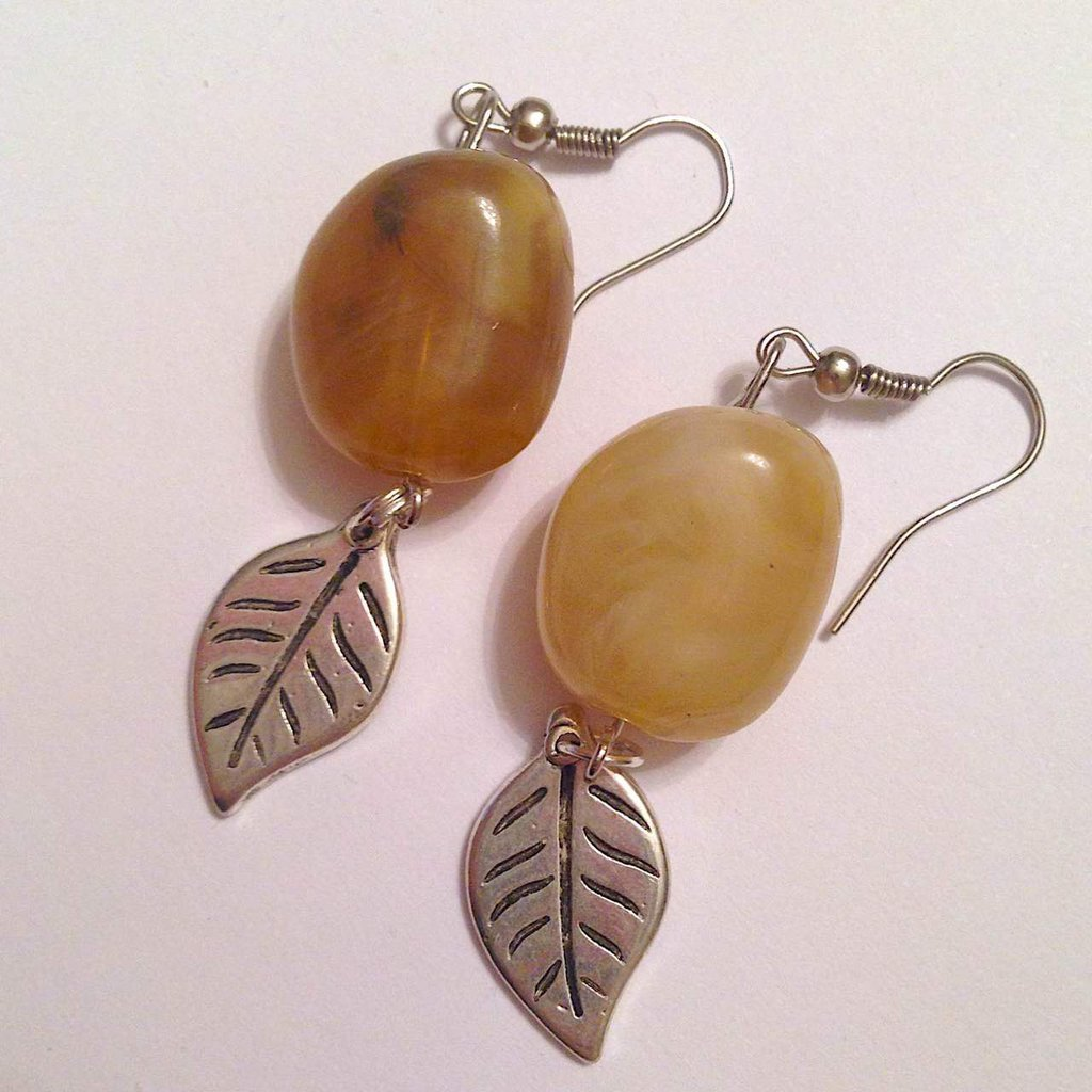 Très Orecchini Sfumature d'autunno con pietre dure beige e marrone e  XM12