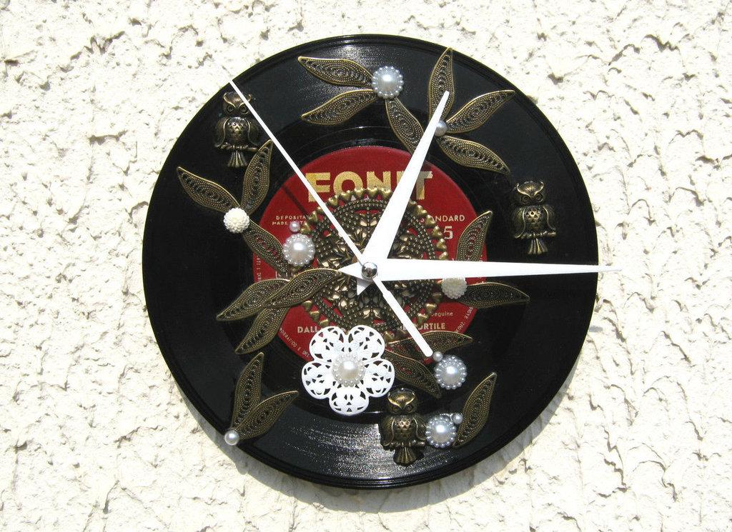 Orologio da parete con disco vinile stile vintage applicazioni a tema gufi idea regalo meccanismo silenzioso