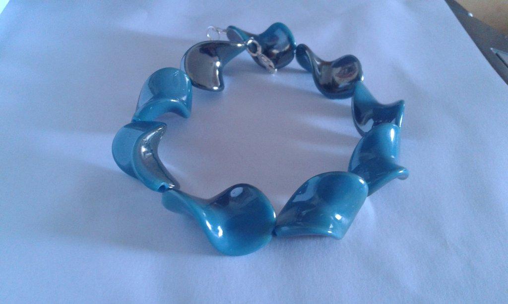 Bracciale donna di perle curvate a specchio