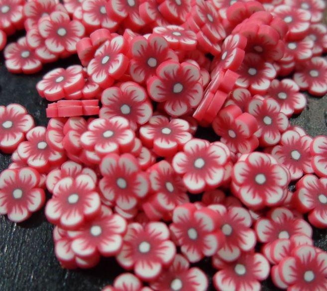 126 Fettine FIORE ROSSO da Polymer Clay Canes