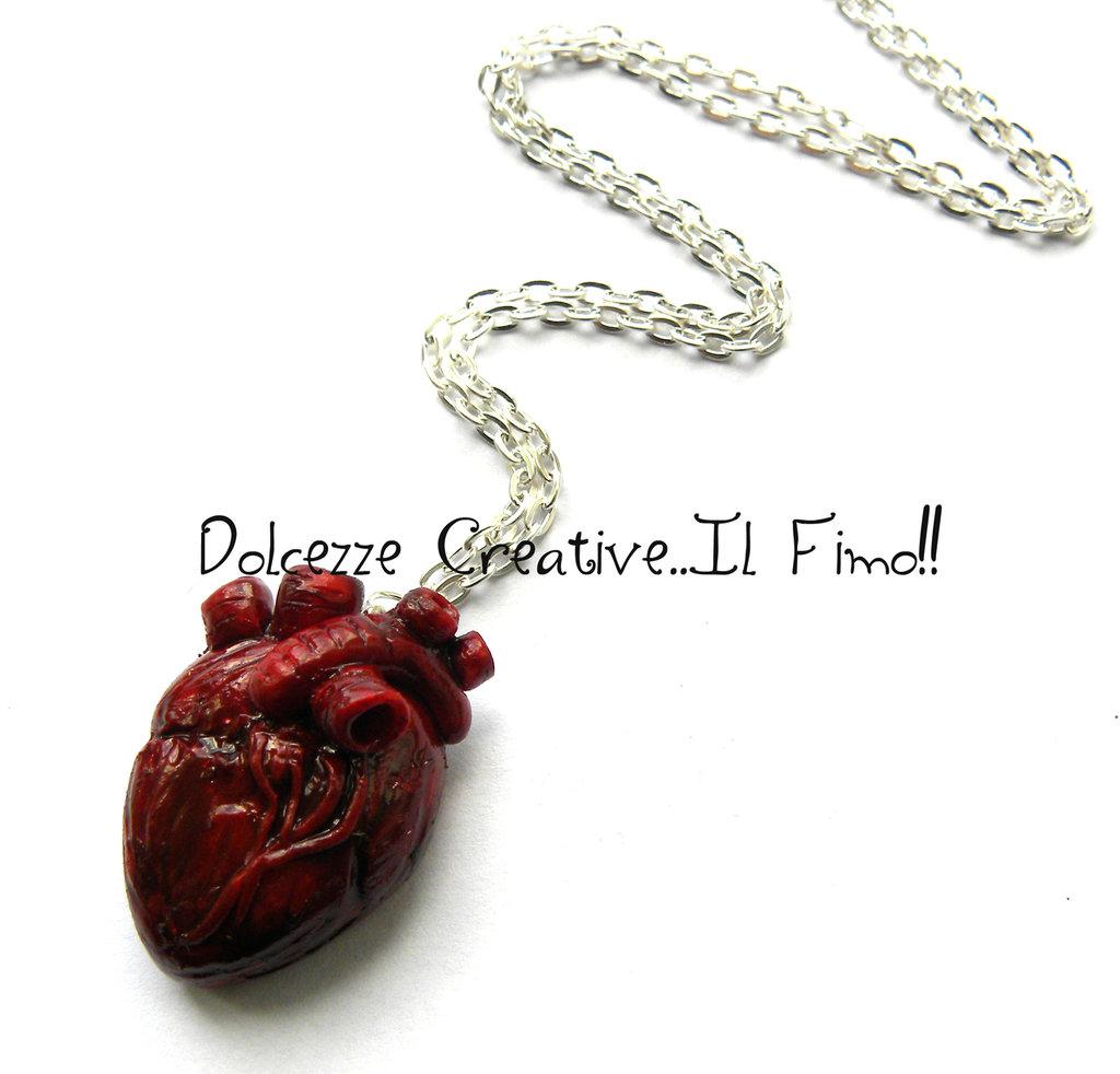 Collana cuore Anatomico - Anatomia anatomical heart miniatura emo dark partel goth extreme