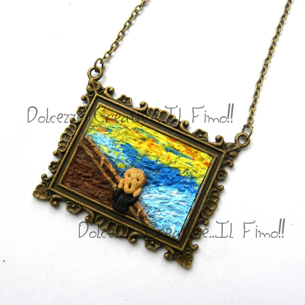 Collana Quadro - Urlo - Grido di  Edvard Munch - Miniature - idea regalo