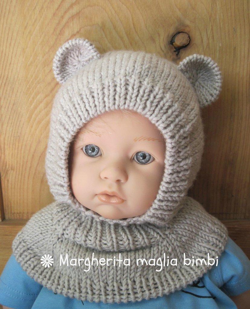 spesso RISERVATO PER EVA: n° 2 berretti orsetto in pura lana merino  NB36