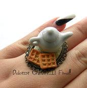 Anello Teiera - Con Waffle - Kawaii - Handmade - Idea regalo - Vintage style
