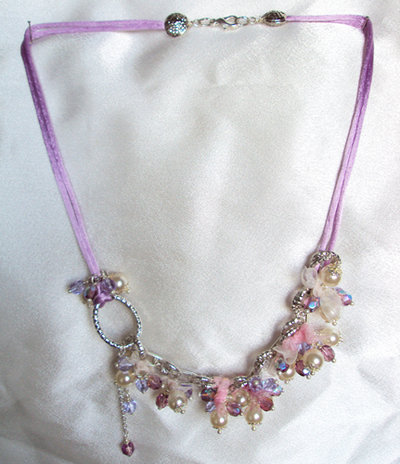 "Collana cristalli ""Pink snow"""
