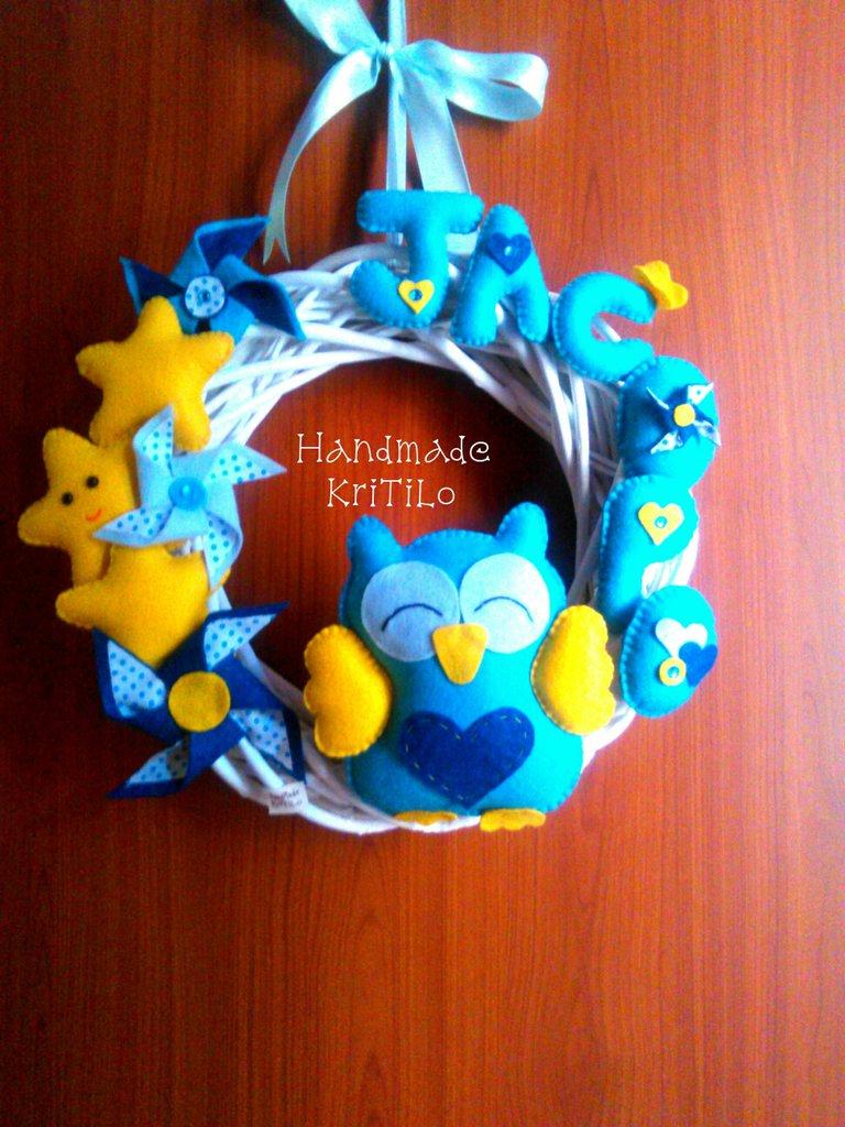 Corona Fiocco nascita con girandole e stelline Handmade KriTiLo