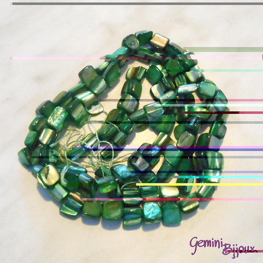 Fila 40 cm. pietre di madreperla, verde foresta