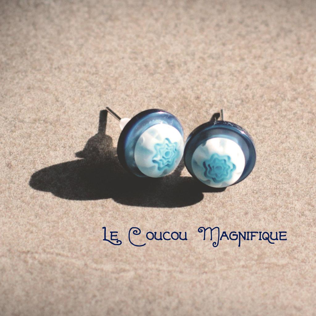Orecchini blu, a lobo con bottoni vintage e murrine - O.28.2015