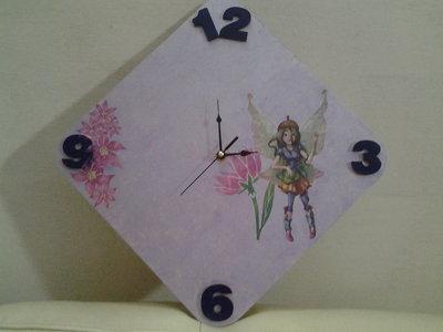 Orologio violetto per cameretta bimba con fiori e fatine