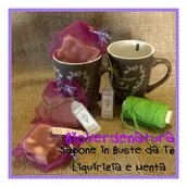 sapone liquirizia e menta kit 3 saponi più tazza