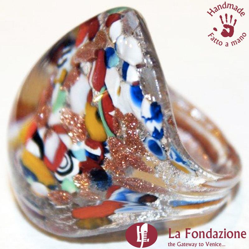 Anello a fascia Murrina Argento Rotto in vetro di Murano fatto a mano