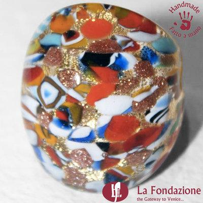 Anello a fascia Murrina Oro Rotto in vetro di Murano fatto a mano