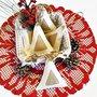 """Decorazioni di Natale shabby chic """"Abeti e oro"""" in feltro e iuta dorata"""