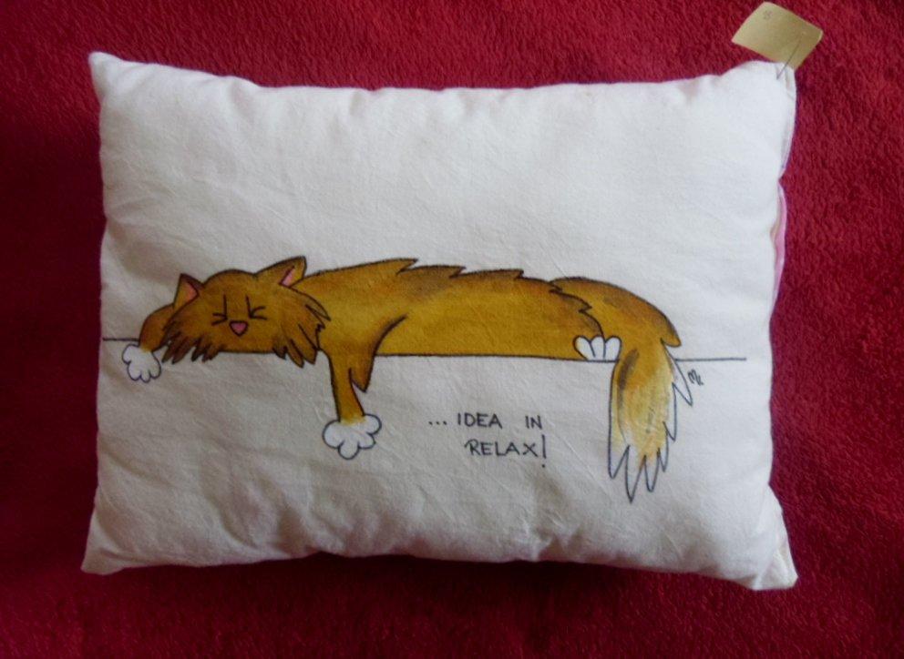 """cuscino dipinto """"gatto relax"""""""