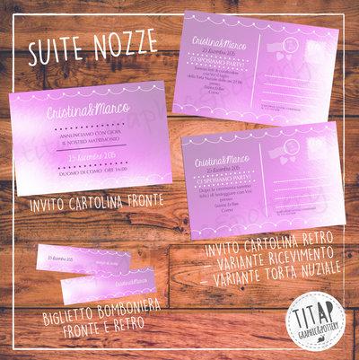 Partecipazione completa di nozze: stampabile e personalizzabile