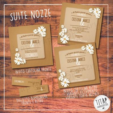Partecipazione BOHO/SHABBY completa di nozze: stampabile e personalizzabile