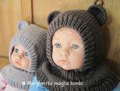 Berretto orsetto in pura lana merino superwash fatto a mano taglia 1-2 anni