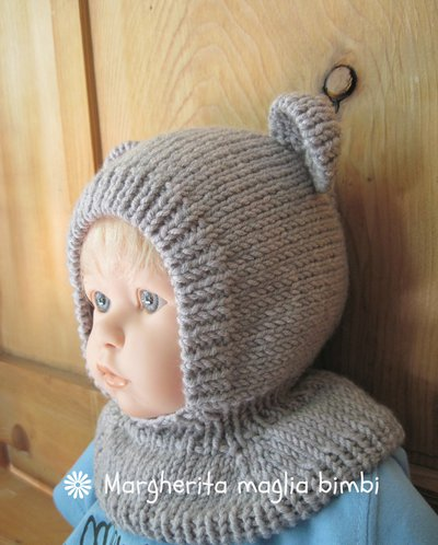 Berretto orsetto in pura lana merino superwash fatto a mano taglia 6 mesi