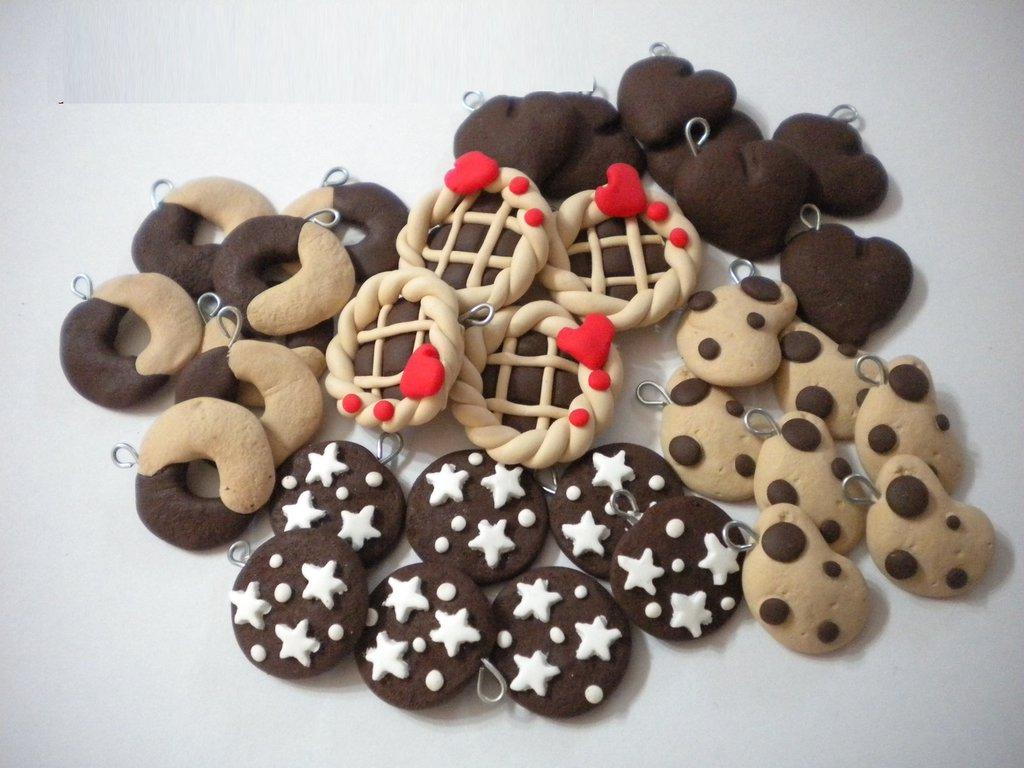 25 ciondoli fimo lotto crostatina pan di stelle gocciole abbracci batticuore handmade earrings