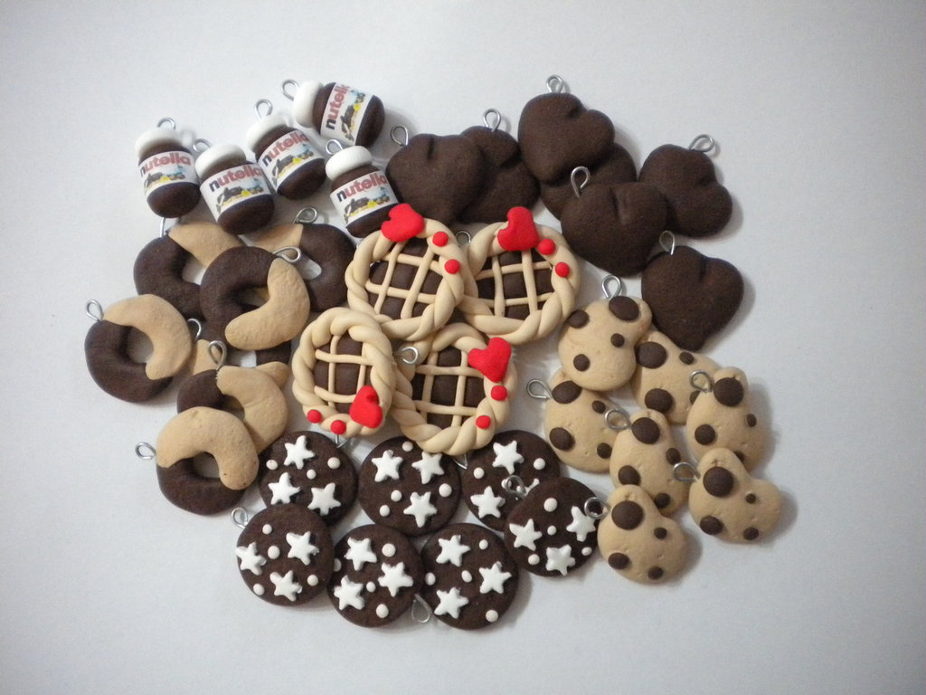 lotto 30 ciondoli fimo Nutella Crostatina abbracci gocciole pan di stelle batticuore handmade earrings