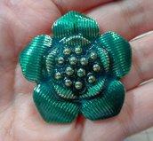Fiore Ciondolo in metallo smaltato colore Verde