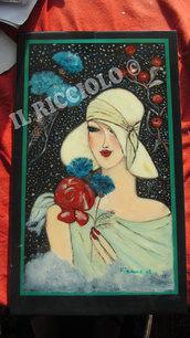 Ritratto ad olio di donna con cappello bianco