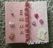 Album foto per bebè rosa con carta pizzo e nome