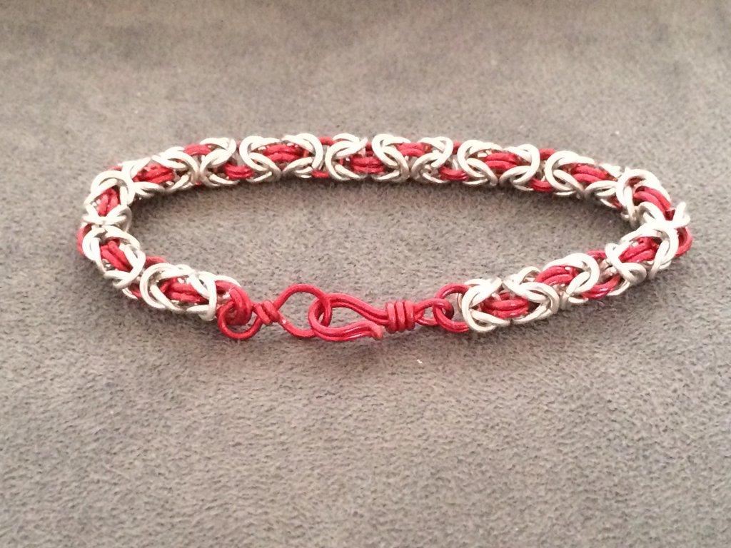 Bracciale chainmail micro-bizantina rosso/argento
