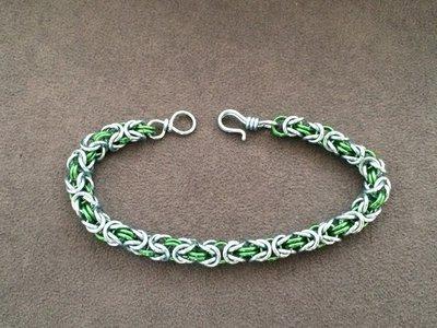 Bracciale chain mail micro-bizantina azzurro/verde