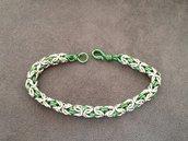 Bracciale chainmail micro-bizantina argento/verde