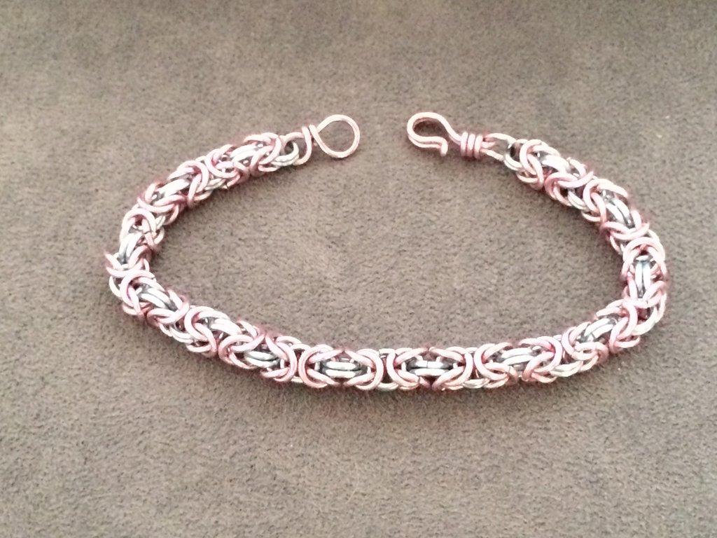 Bracciale chainmail micro-bizantina rosa/azzurro