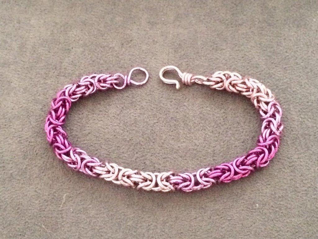 Bracciale chainmail micro bizantina sfumature rosa/viola