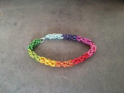 Bracciale chainmail micro bizantina arcobaleno multicolore