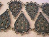 8 Basi per Orecchini (4 paia) o Pendenti in Argento Tibetano color Bronzo Antico