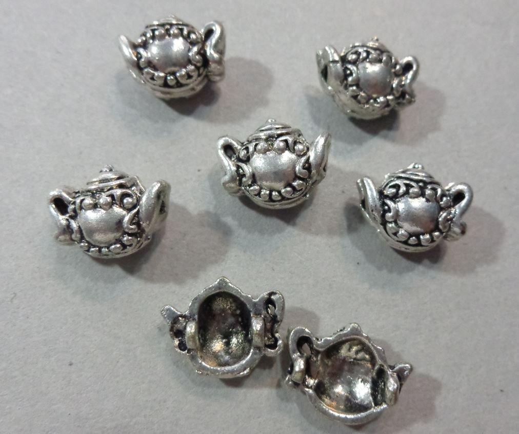 6 Perline Teiere ad incastro in Argento Tibetano