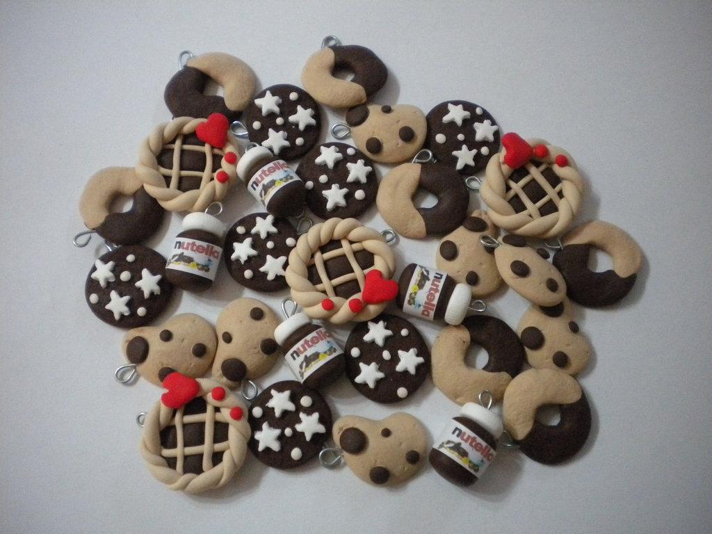 lotto 10 ciondoli fimo Nutella Crostatina abbracci gocciole pan di stelle handmade earrings