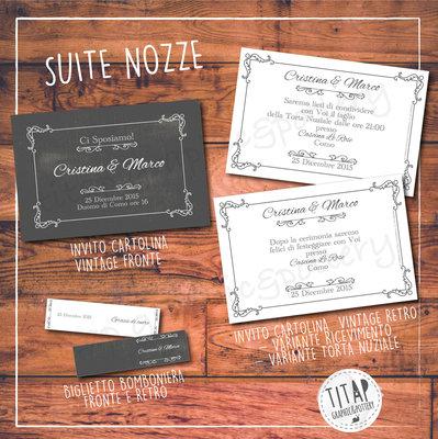 Partecipazione CARTOLINA VINTAGE completa di nozze: stampabile e personalizzabile