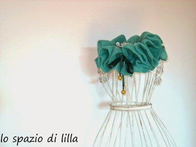 Ruffle sciarpa arricciata verde, moda donna inverno,fatta a mano