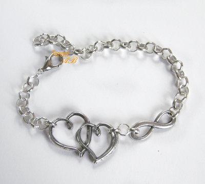 Bracciale infinito doppio cuore donna catena braccialetto infinity