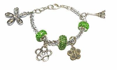 bracciale in acciaio con charms e strass verdi
