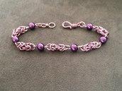 Bracciale chainmail micro bizantina lilla viola