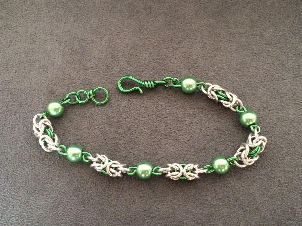 Bracciale chainmail micro bizantina verde
